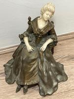 Important Art Nouveau Bronze Marble Seated Lady Sculpture By Xavier Raphanel (4 of 39)