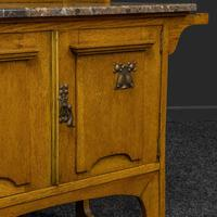 Arts & Crafts Oak Washstand with Marble Top (5 of 14)