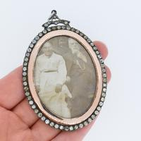 Antique Edwardian Paste Large Silver and Rose Gold Oval Locket Pendant in Box / Boxed (9 of 10)
