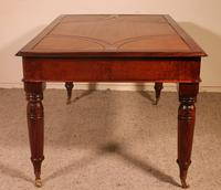 Writing Table/ Desk with 3 Drawers in Burl Walnut & Mahogany - 19th Century (4 of 10)