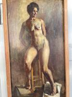 Antique Nude Oil Painting Portrait of Seated Figure by Alys Woodman RBSA (4 of 10)
