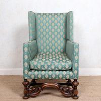 Lounge Chair Armchair Walnut Wingback Edwardian (11 of 12)