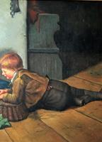 Huge Stunning 20thc Oil Portrait Painting Of 2 Children Playing In A Barn (8 of 12)