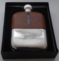 1930's Silver Plate Plated Leather Bound Glass Hip Flask James Dixon (11 of 11)