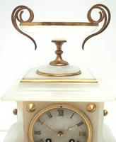 Fine French 8-Day Mantel Clock Alabaster Clock with Ormolu Mounts Striking A Bell (10 of 10)