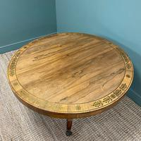 Spectacular Mellow Rosewood and Brass Inlaid Regency Circular Centre Table (4 of 8)