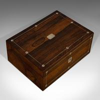 Antique Jewellery Box, English, Rosewood, Mother of Pearl, Sewing, Victorian (10 of 12)