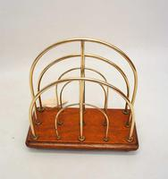 Victorian William Tonks Brass & Oak Desk Top Magazine or Letter Rack (7 of 11)