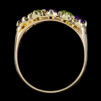 Antique Edwardian Suffragette Ring 18ct Gold Peridot Amethyst Diamond c.1910 (2 of 5)