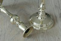 """Pair of Victorian Brass Candlesticks c.1850-70 with Pushers 8.75"""" (3 of 5)"""