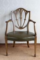 Sheraton Period Leather Covered Carver Chair