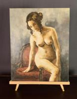 Mid Century Signed Oil on Canvas Female Nude (4 of 6)