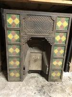 Antique Cast Iron Tiled Fireplace Insert