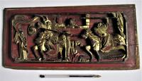 Antique Chinese giltwood carved panel, 19th century, jousting/duel (7 of 8)