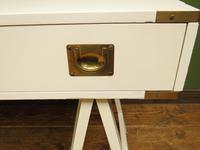Vintage Scandi Boho White Campaign Style Desk with Trestle Legs (10 of 17)