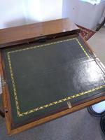 Victorian Mahogany Green Leather Lady's Workstation, Sewing & Writing Desk (4 of 10)