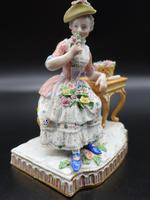 Late 19th Century Meissen Figure of a Seated Young Lady (3 of 6)