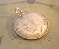 Antique Pocket Watch Chain Fob 1928 Lucky Silver One Shilling Old 5d Coin Fob (4 of 7)