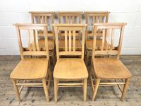 Set of Twelve Vintage Beech Chapel Chairs