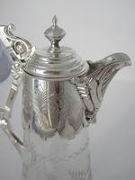 Victorian Silver Plated Claret Jug with Cast Fluted Spout & Unusual Stylised Handle (2 of 8)