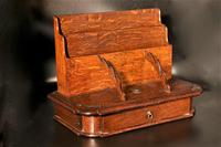 Late 19th Century Oak Slope Fronted Correspondence Box (5 of 5)