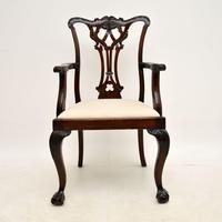 Set of 8 Antique Mahogany Chippendale Dining Chairs (5 of 14)