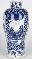 Chinese Pair of Large Blue & White Panel Vases with Figures Qing Dynasty (13 of 25)