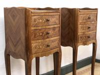 French Marquetry Kingwood Bedside Tables Rustic Distressed (9 of 13)