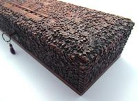 Magnificent North Indian Antique Hand Carved Sandalwood Box Wood Casket, 19th Century India c.1860 (6 of 11)