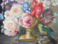 Oil on Canvas Still Life with Parakeet Artist George Rennie (5 of 11)