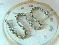Antique Pocket Watch Chain 1890s Victorian Large Silver Nickel Fancy Link Albert (2 of 12)