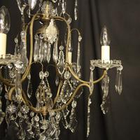 French Gilded Birdcage 5 Light Antique Chandelier (5 of 10)