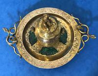 Victorian Gilt Brass Malachite Stationary Desk Set (16 of 17)