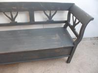 A Battleship Grey 3 Seater Antique/Old Pine Kitchen/Hall Box Settle/ Bench (8 of 9)