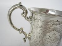 Victorian Tapering Cylindrical Silver Christening Mug with Scroll Handle (3 of 5)