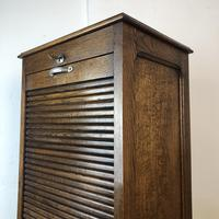 Antique French Tambour Fronted Oak Filing Cabinet (4 of 10)