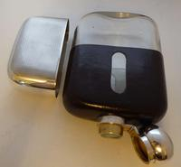 Shop Display James Dixon Solid Silver Leather Bound Glass Hip Flask 1 1/4 Pint (4 of 14)