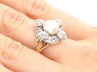 4.08ct Diamond & Pearl, 12ct Yellow Gold Earring & Ring Set - Antique c.1870 (14 of 15)