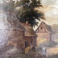 Antique Landscape Oil Painting of Farm Buildings with Cows Signed WP Cartwright 1892 (6 of 10)