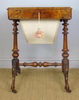 Beautiful Victorian Burr Walnut Sewing Table