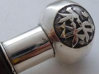Chinese Walking Stick Cane Solid Silver Pommel Bamboo Wood Shaft c.1900 (6 of 11)