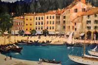 Italian lake scene oil painting by Godwin Bennett (3 of 8)
