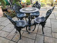 Wonderful Set of Cast Iron Garden Table & Four Chairs (2 of 7)