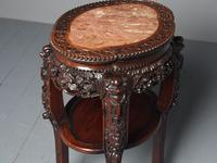 Antique Chinese Qing Dynasty Hongmu & Pink Marble Pedestal (5 of 10)