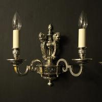 English Set of 4 Cherub Silver Wall Lights (9 of 9)