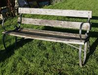 Old Weathered Oak and Iron 6 Bar Garden Bench (5 of 6)