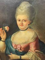 18th Century Oil Painting Portrait Lady In Pink Silk Dress Holding A Rose (55 of 62)