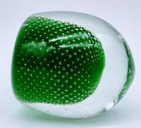 Jaffe Rose Glass Magnum Controlled Bubble Green Paperweight Czech Bohemia (6 of 6)