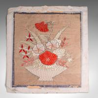 Pair of Antique Decorative Panels, Chinese, Embroidered Silk, Victorian c.1880 (3 of 9)