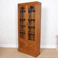 Oak Leaded Glazed Bookcase Arts & Crafts (7 of 10)